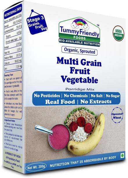 TummyFriendly Foods Certified USDA Organic Sprouted Multi Grain Fruit Vegetable (Sprouted Wheat, Oats, Banana, Beetroot, Green Peas) Porridge Mix | Organic Baby Food For 8 Months Old | Made of Sprouted Whole Wheat | 200g Cereal