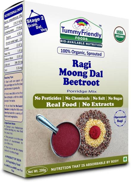 TummyFriendly Foods USDA Certified 100% Organic Sprouted Ragi, Moong Dal, Beetroot Porridge Mix | Organic Baby Food for 6 Months Old | Made of Sprouted Ragi for Baby |Rich in Calcium, Iron, Fibre & Micro-Nutrients | 200g Cereal