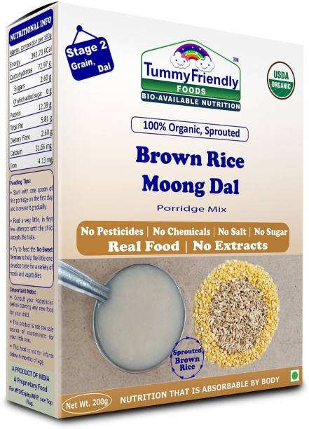 TummyFriendly Foods USDA Certified 100% Organic Sprouted Brown Rice, Moong Dal Porridge Mix |Excellent Weight Gain Baby Food|Made of Sprouted Whole Grain Brown Rice | 200g Cereal