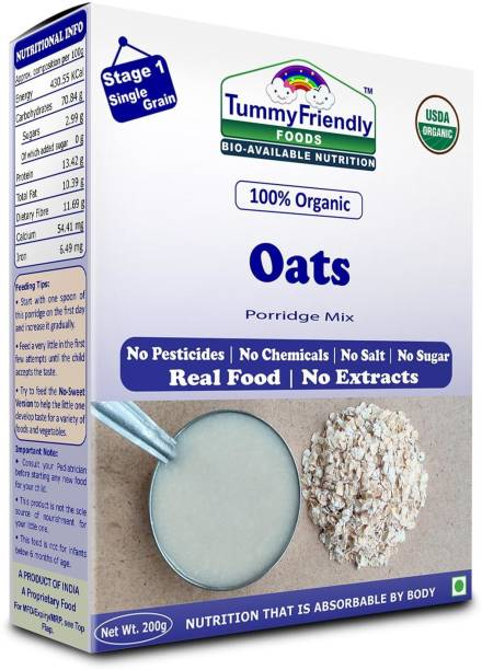 TummyFriendly Foods USDA Certified 100% Organic Oats Porridge Mix | Organic Baby Food for 6 Months Old | Rich in Beta-Glucan, Protein & Fibre| 200g Cereal