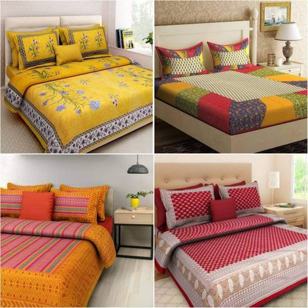 SRISHTHIFASHION 144 TC Cotton Double Jaipuri Prints Bedsheet