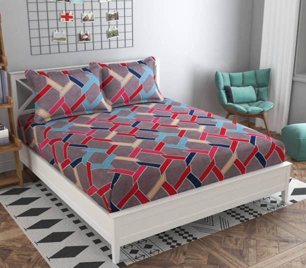 Navrang Matching Center 210 TC Polycotton Double Abstract Bedsheet