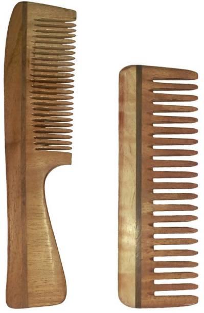 Ginni Marketing Combo of 2 Neem Wood Combs (regular handle + Medium detangler)