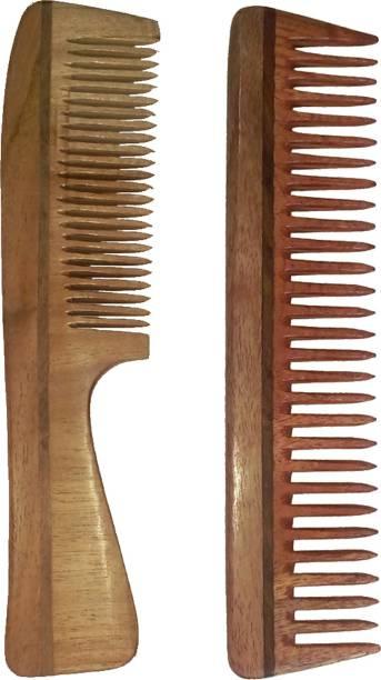 "Ginni Marketing Combo of 2 Neem Wood Combs (regular handle-7.5"" and detangler:regular size-7.5"" )"