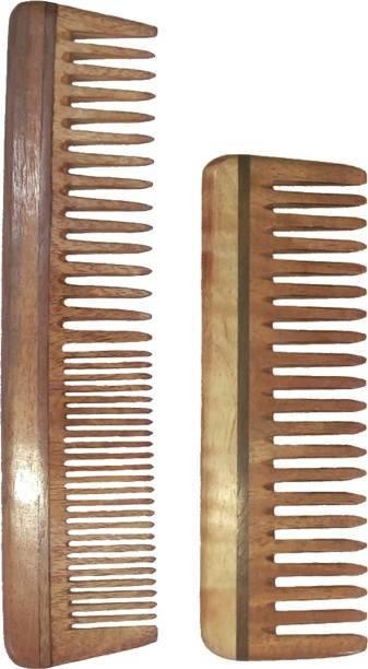 "Ginni Marketing Combo of 2 Neem Wood Combs (regular detangler-7.5"" and medium detangler-6"")"
