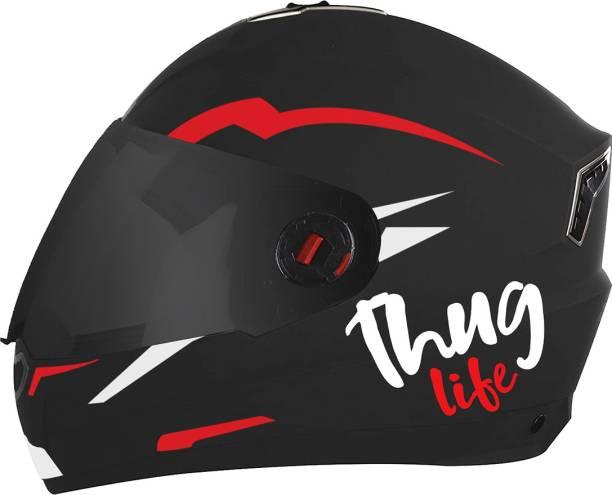 Steelbird SBA-1 Thug Life Night Reflective Full Face Helmet in Dashing Black Red Motorbike Helmet