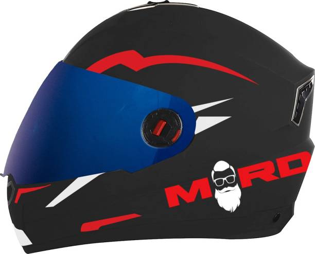 Steelbird SBA-1 Mard Night Reflective Full Face Helmet in Dashing Black Red Motorbike Helmet