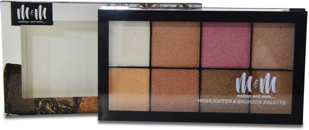 Makeup & More Highlighter And Bronzer Palette, Contains 8 Unique Color Shades, Provides Shine And Shimmer Highlighter