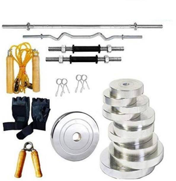 RIO PORT 20 kg 20kg chrome steel gym set with 5ft straight rod and 4 ft Curl rod Home Gym Combo