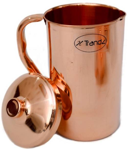 Xtrandz 1.5 L Water Pure Copper Water Jug Copper Pitcher for Ayurveda Health Benefit Smooth Finished Jug