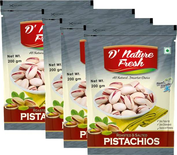 D NATURE FRESH Roasted & Salted Pistachios 800g ( Pack of 4 - 200g Each) Pistachios