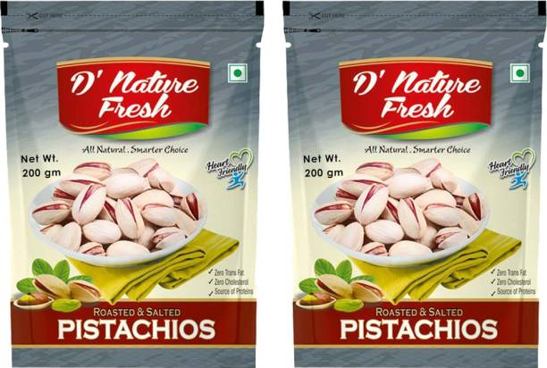 D NATURE FRESH Roasted & Salted Pistachios 400g ( Pack of 2-200g Each) Pistachios