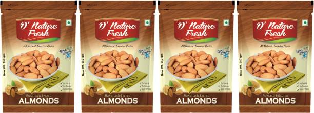 D NATURE FRESH Roasted & Salted California Almonds 1kg ( Pack of 4 - 250g Each) Almonds