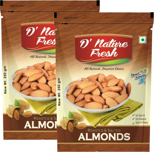 D NATURE FRESH Roasted & Salted California Almonds 500g (Pack of 2 -250g Each) Almonds