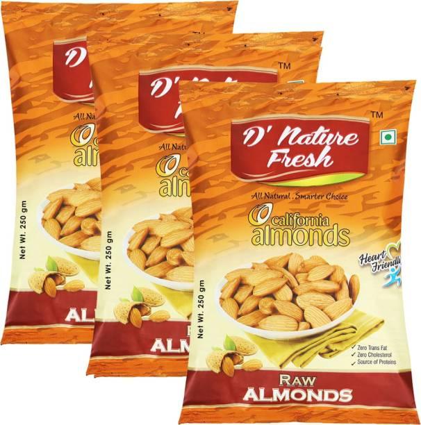 D NATURE FRESH California Almonds 750g ( Pack of 3 - 250g Each) Almonds