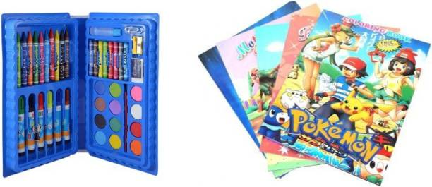 toybest Color Craft Set; Crayons; Oil Pastel; Sketch Pen Set , Water Colors Cartoon Character Drawing Book With Name Stickers .(Blue)