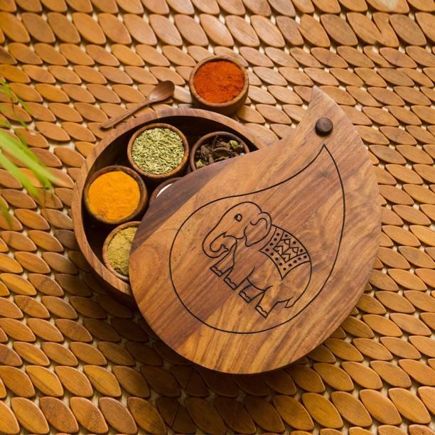 ExclusiveLane 'The Elephant Warriors' Hand Carved Sheesha Wood 1 Piece Spice Set