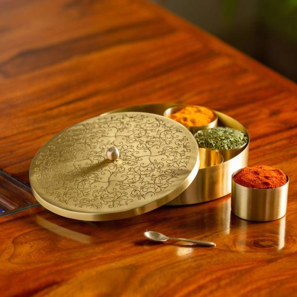 ExclusiveLane 'Floral-Etched' Handcrafted Spice Box In Brass With Spoon (7 Containers, 40 ML) Spice Set