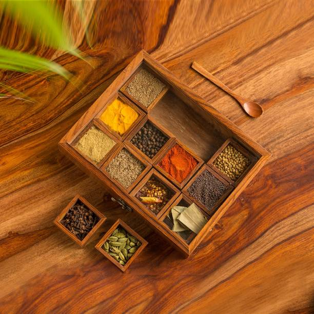 """ExclusiveLane """"Twelve Blends"""" Spice Box With 12 Containers & Spoon 1 Piece Spice Set"""
