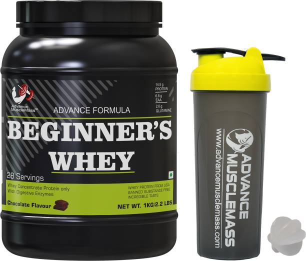 Advance MuscleMass Beginner's Whey Protein | Whey Concentrate Protein only | Digezyme | with Shaker Whey Protein