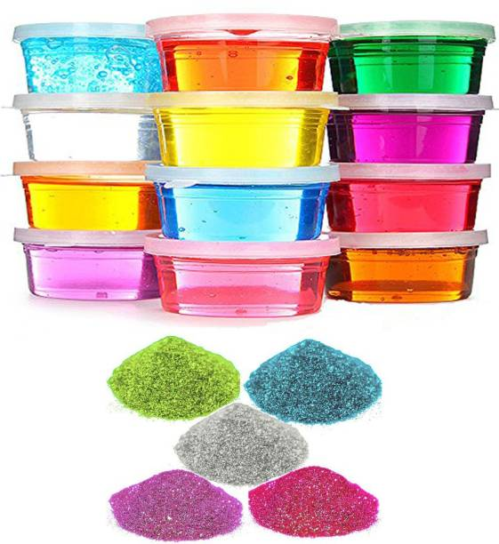 AncientKart Scented 5D Slime Putty Ultra Crystal Clear with molds inside Set of 12 Multicolor Putty Toy