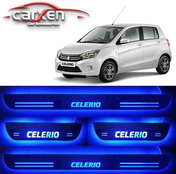 carxen Car Door Foot Step Led Sill Plate With Mirror Finish for compatible with Maruti Suzuki Celerio (Set of 4PCS, Blue) Door Sill Plate Door Sill Plate