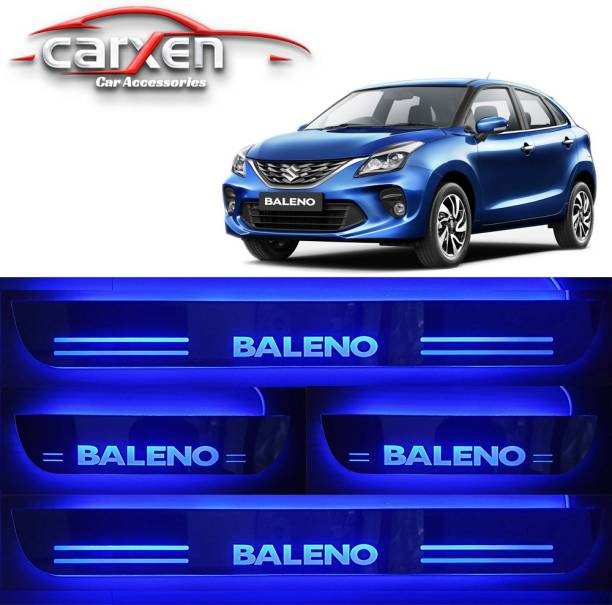 carxen Car Door Foot Step Led Sill Plate With Mirror Finish for compatible with Suzuki Baleno (Set of 4PCS, Blue) Door Sill Plate Door Sill Plate