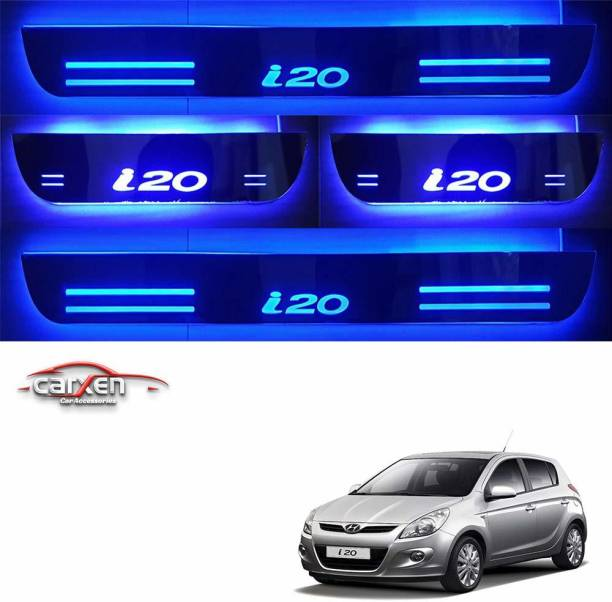 carxen Car Door Foot Step Led Sill Plate With Mirror Finish for compatible with HYUNDAI i-20 (Set of 4PCS, Blue) Door Sill Plate