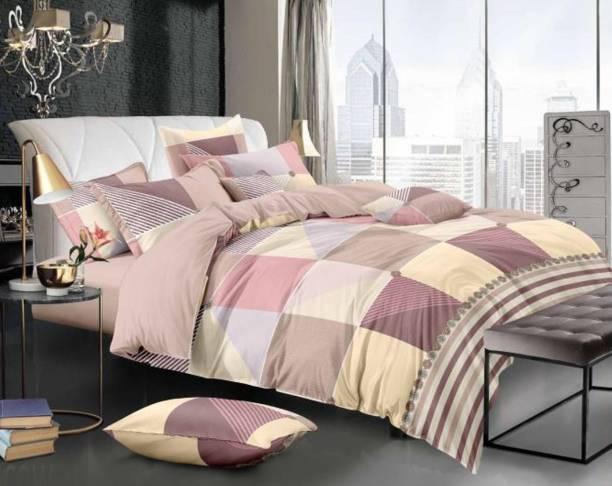 Varsha 210 TC Polyester Double Checkered Bedsheet