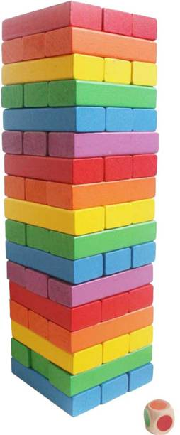 CrazyCrafts Wooden 54 Colored Wooden Building Block Dominoes, Party Game, Tumbling Tower Jenga Game Authjfort Toy (Multicolor)