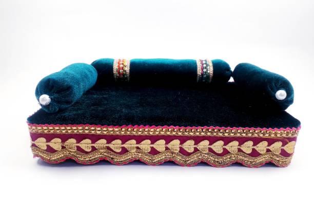 R D Handicraft Thakur ji Singhasan Silk Pooja Chowki