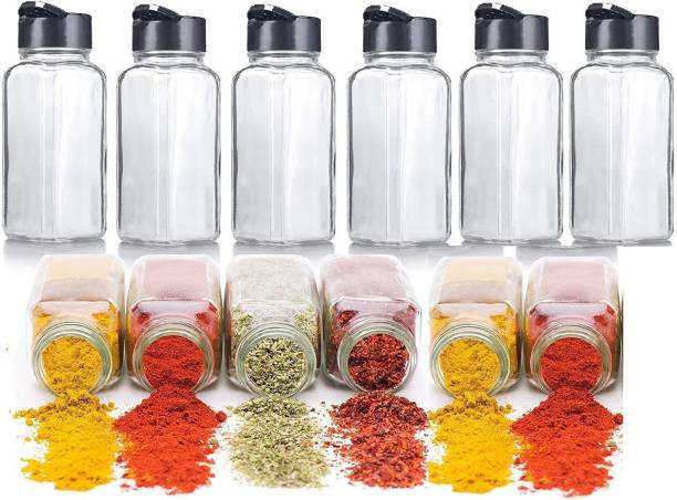 Flipkart SmartBuy Salt & Pepper Glass Square Spice Jar with Black Sifter Two Sided Sifter Cap Masala jar Spice Container Square (Each Bottle 100ml)  - 100 ml Glass Grocery Container