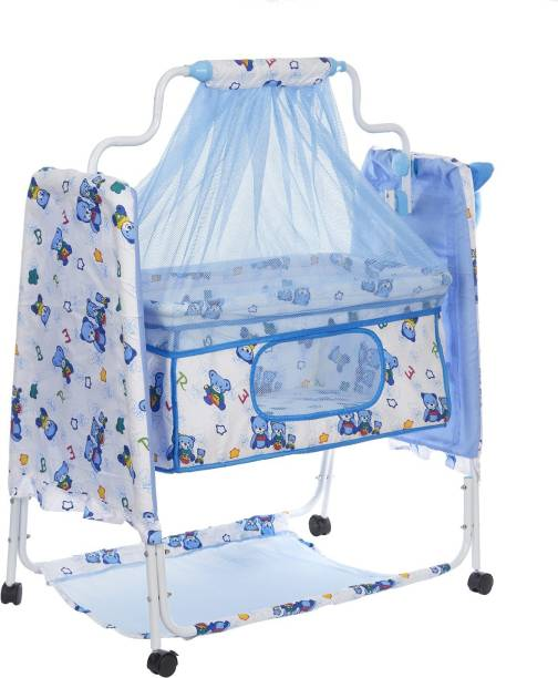 NHR New Born Baby Cradle Baby Swing Baby jhula Baby palna Baby Bedding Set Crib Bassinet with Mosquito Net, Pillow and Wheels ( Blue )