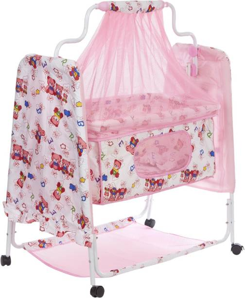 NHR New Born Baby Cradle Baby Swing Baby jhula Baby palna Baby Bedding Set Crib Bassinet with Mosquito Net, Pillow and Wheels ( Pink )