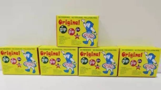 Crafty villa Christmas & New Year Special Original POP POP Magic Wrinkle Sound for Kids No 1 Quality ( Pack of 5 Packets Total 250 Shots + 2 Packet Magic pulling Thread ) Gag Toys Gag Toy