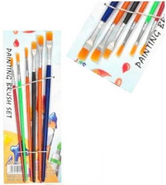 TITIRANGI 6 Different Sizes Synthetic Flat Paint Brush Paintings Brush (Set of 6, Multicolor)kaidisi (Set of 1, Multicolor)