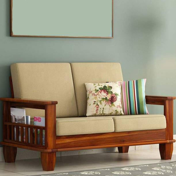 Kendalwood Furniture Solid Wood 2 Seater Wooden Sofa set for living Room Furniture Fabric 2 Seater  Sofa