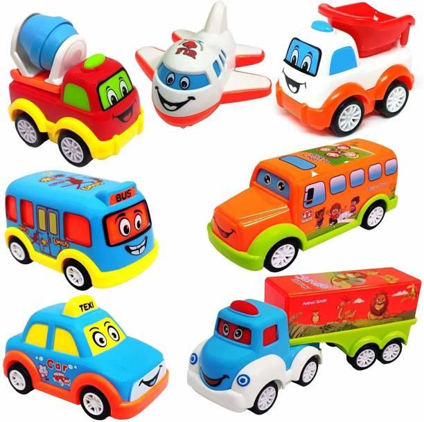 PRESENTSALE Unbreakable 7 pcs Pull Back Texi Car Truck Bus Plane Toy for Boys girls Kids