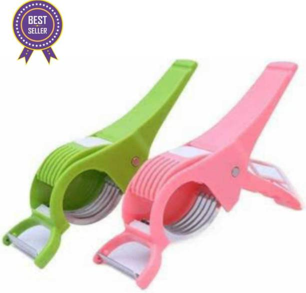 kewin set of 2 green AND pink vegetable cutter with 5 statinless steel cutting blade, 2 IN 1 CHOPPER AND PEELER Vegetable & Fruit Chopper