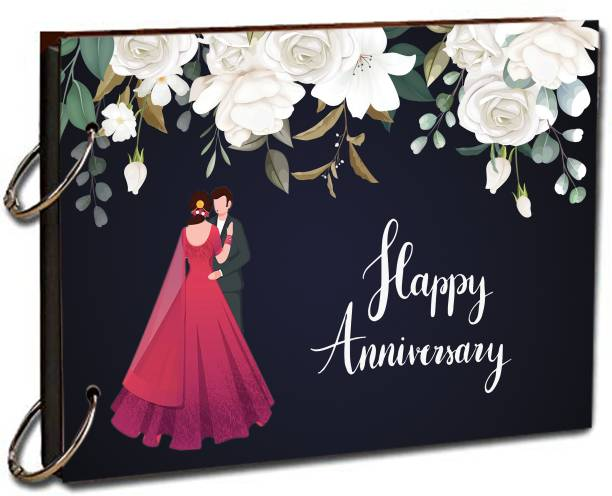 paper pebbles Black With White Floral Design Happy Anniversary Couple Pattern Scrap Book Size 8.5x6.25 inch 20 Pages Album