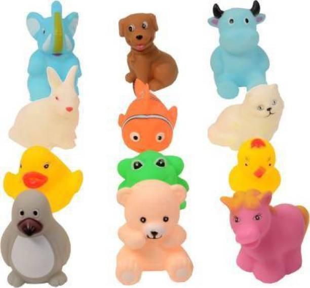 LooknlveSports 12Pcs Cute Soft Rubber Float Squeeze Sound Baby Bath Play Chuchu Animals Toys Bath Toy