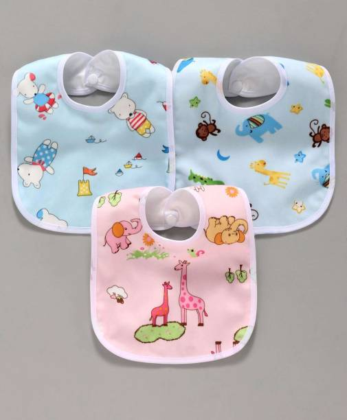 NEPEE Waterproof, Super Soft Cotton Daily Use, Elegant and Stylish Velcro bibs for baby boy and baby girl-Pack of 3 (Multicolor)