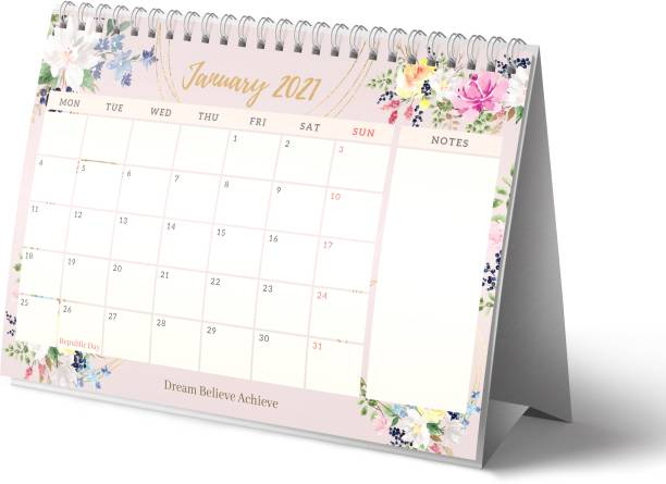 Lauret Blanc Desk Calender 2021 Planner and Organizer-A5 Size, Monthly Grid View, Notes Section, Home and Office Calender 2021 Table Calendar