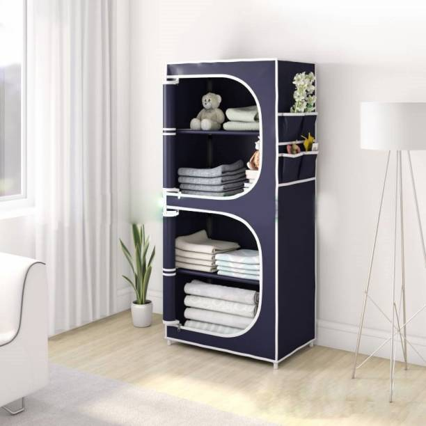 Sasimo 2-Door 4-Shelf PP Collapsible Carbon Steel Collapsible Wardrobe