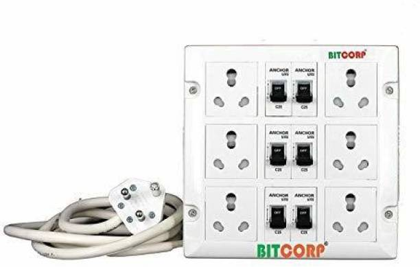 BITCORP Extension Board 25A 6 Socket 6 MCB 3 Meter 4 mm Long Wire Cable Cord with 25 Amp Power Plug 6  Socket Extension Boards