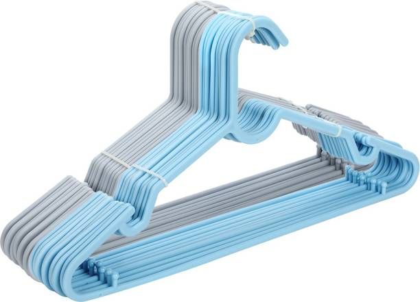 MINISO Simple Clothes Hanger 20PCS, Dual Use for Hanging Summer Cloths and Durable PP Material,Light Blue+Grey Plastic Pack of 20 Hangers
