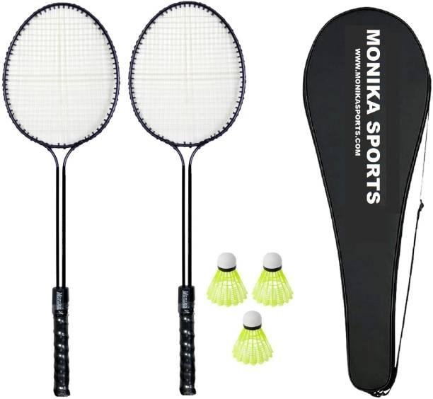Monika Sports 2 Double Shaft Badminton Racquet With 3 Pc Nylon Shuttle & 1 racquet Cover Badminton Kit
