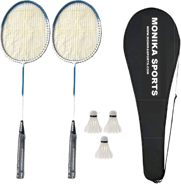 Monika Sports 2 pc Single Shaft Racquet With 3 Feather shuttle & 1 Racquet Cover Badminton Kit