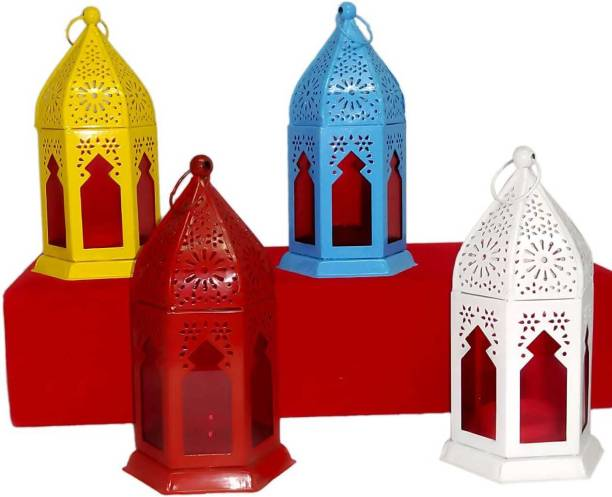 Designer International Antique Collection Decorative Moksha Hanging Lantern/Lamp with t-Light Candle, SET OF 1BLACK Multicolor Iron Hanging Lantern