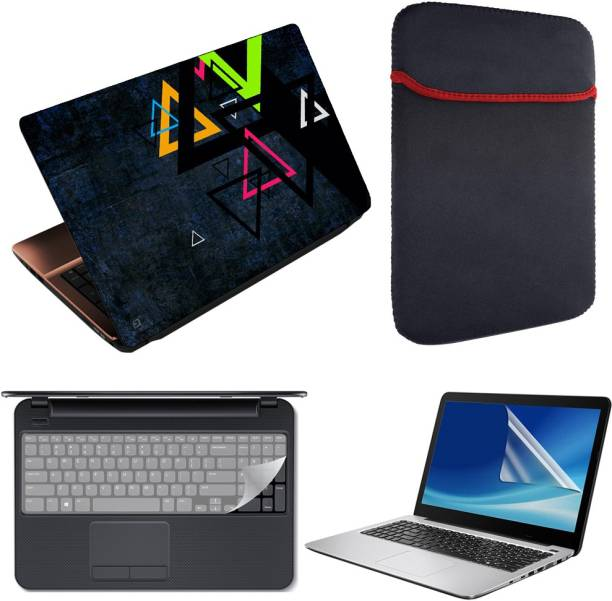 Finest 4 in 1 Combo Pack of Printed Vinyl Laptop Skin Decal Sticker, Reversible Sleeve, Key and Screen Protector Guard for 15.6 Inch Laptop - Triangles Combo Set